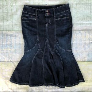 Candie's Dark Blue Denim Jean Fit and Flare Skirt
